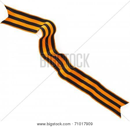 St. George ribbon tape - symbol of russian military prowess close up isolated on white