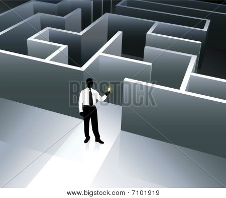 Businessman Internet Background With Maze