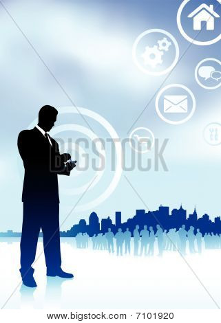 Businessman On Phone With Internet Icons New York Skyline Backgr