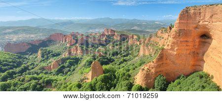 Wonderful panorama landscape of Las Medulas ancient roman mines in Leon Spain.