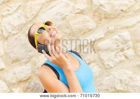 Charming Girl Speaks By Phone