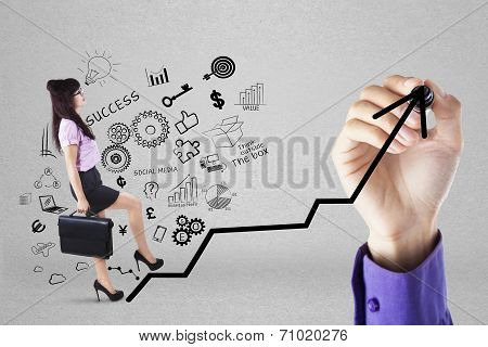 Businesswoman Climbing Upward Chart