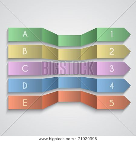 Vector set of folded paper enemerated arrows