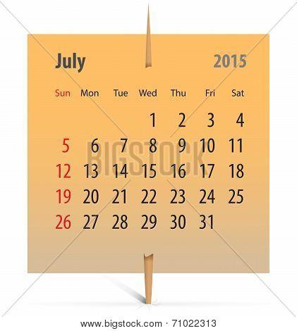 Calendar For July 2015
