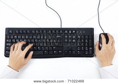 Hands Typing On Keyboard With Mouse 2