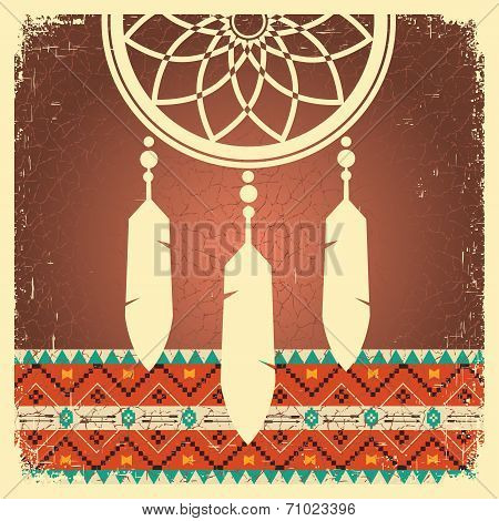 Dream Catcher Poster With Ethnic Ornament