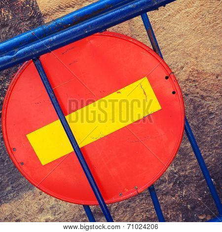 Round Red Sign No Entry Mounted On Blue Road Barrier