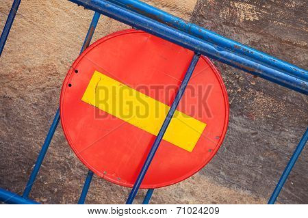 Round Red Sign No Entry On Blue Road Barrier