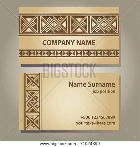 Visiting card template in beige gold