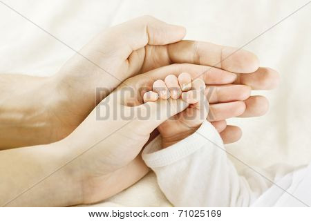 New Born Baby Hand Inside Parents Hands. Newborn Kid and Family