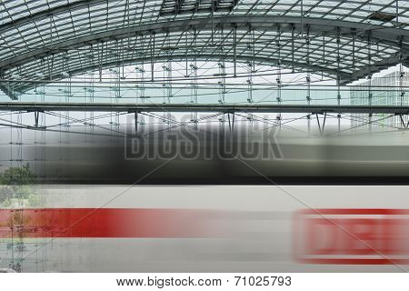 Berlin Hauptbahnhof Train Station Passing Train