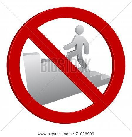 person walk forbidden sign icon 3d