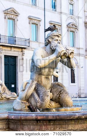 Detail Of Moor Fountain In Roma