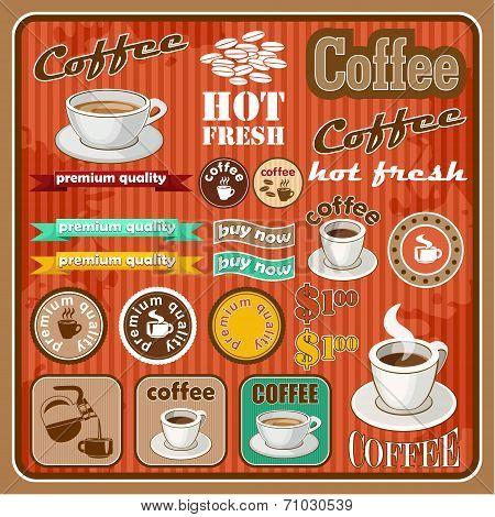 Vintage Coffee And Tea Set Icon. Vector Illustration