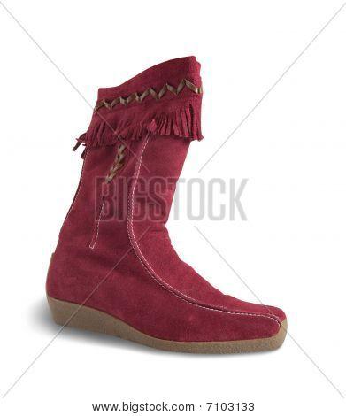 Red  Deerskin  Boot