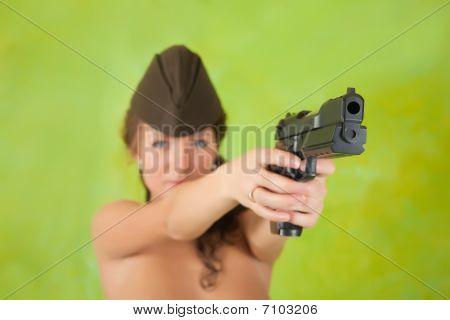 Girl  Aiming A Black Gun