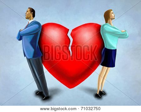 Man and woman facing opposite direction, standing in front of a broken heart. Digital illustration.