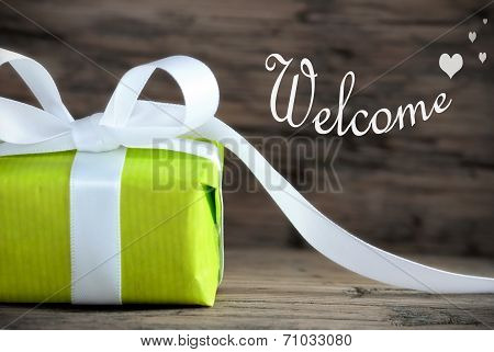 Green Present With Welcome