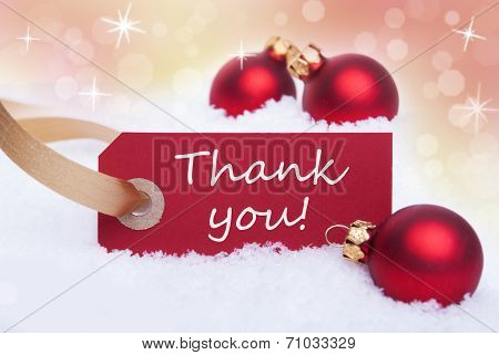 Christmas Background With Snow and Thank You Label