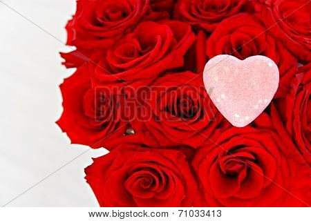 Red Roses With A Pink Heart