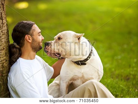 Man and Argentino Dog