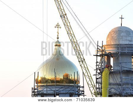 The Dome Of The Church Under Construction