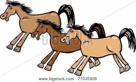 Horses Or Mustangs Cartoon Illustration