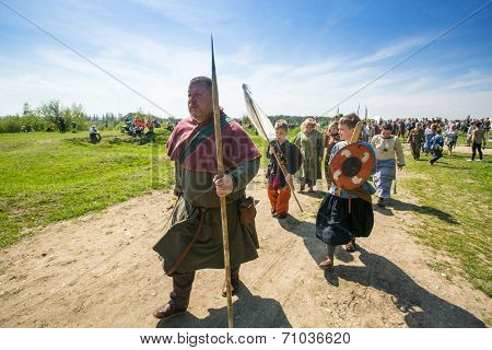 KRAKOW, POLAND - APR 22, 2014: Unidentified participants of Rekawka - Polish tradition, celebrated in Krakow on Tuesday after Easter. Currently has the character of festival historical reconstruction.
