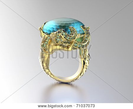Golden Engagement Ring with aquamarine or moissanite. Jewelry background