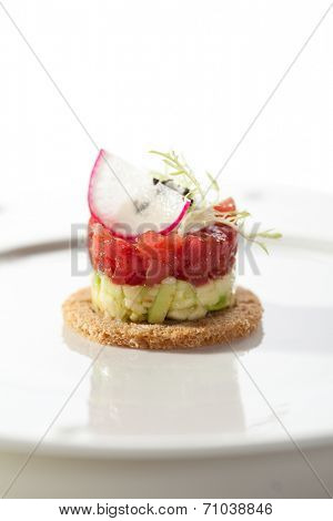 Canape - Tuna and Avocado Tartare with Cream Sauce