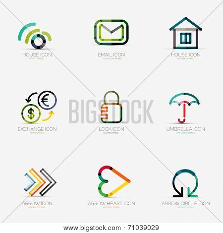 Set of 9 various company logos, business icons. Wifi email home house currency exchange lock security protection umbrella arrow right next heart like social arrow circle round rotation