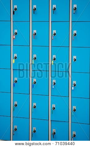 Closeup Blue Deposite Boxes With Keys. Left Luggage