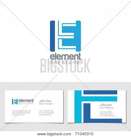 Corporate Logo E Letter company vector design template. Logotype with identity business visit card.