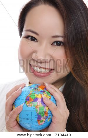 Asian Woman Holding Globus