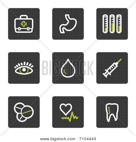 Medicine web icons set 1, grey square buttons series