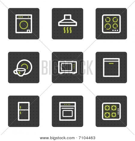 Home appliances web icons, grey square buttons series