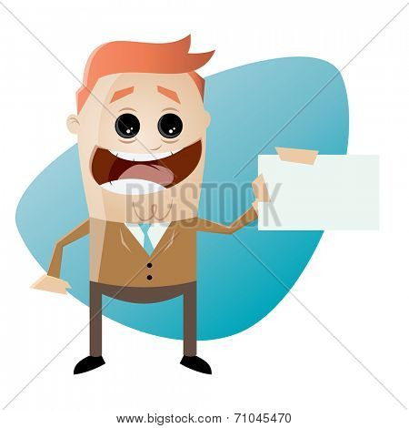 funny cartoon businessman with businesscard
