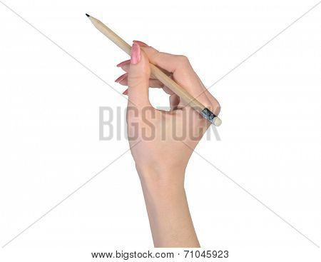 Woman hand and pencil write something