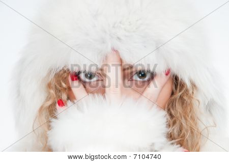 Girl Dressed In Clothes Of Furs