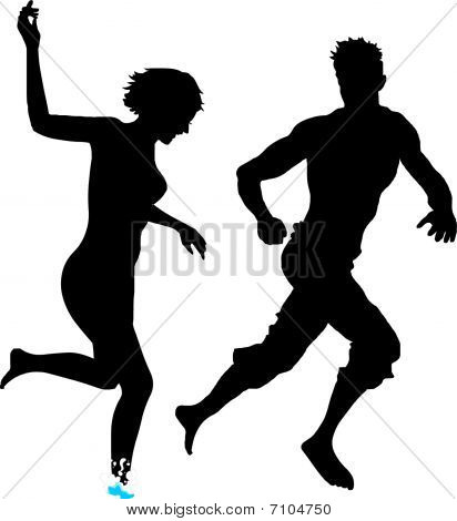 Silhouettes of couple in love