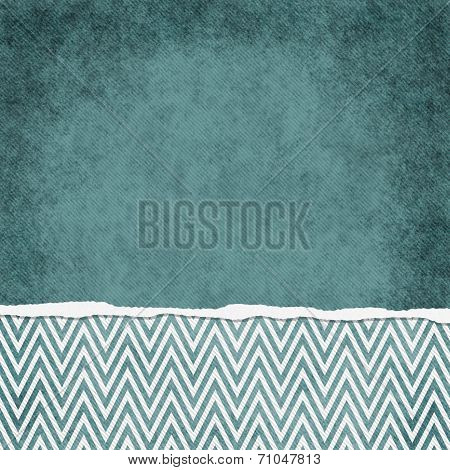 Square Teal And White Zigzag Chevron Torn Grunge Textured Background
