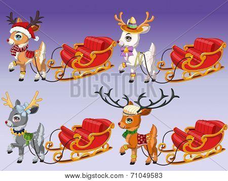 Cute Reindeer with Sledge 1