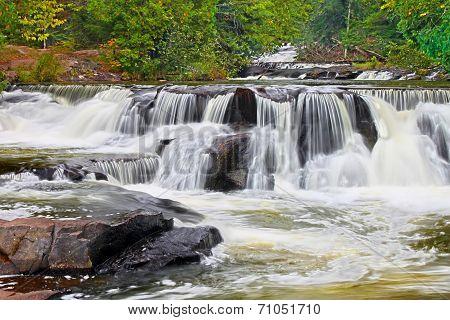 Bond Falls Waterfall In Michigan