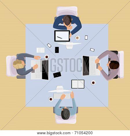 Brainstorming people top view