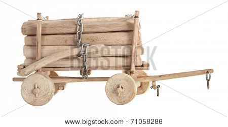 Wooden cart wagon with logs toy vintage