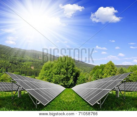 Solar panels in spring landscape