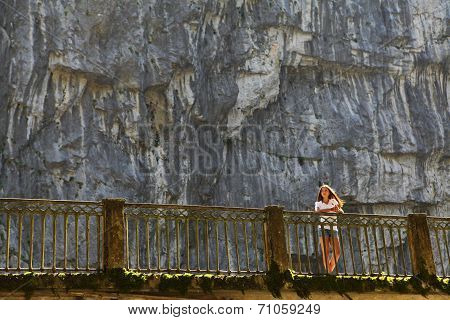 Young Woman On Bridge