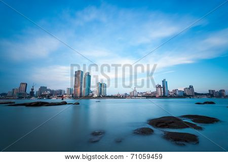 Xiamen, City Skyline At Twilight