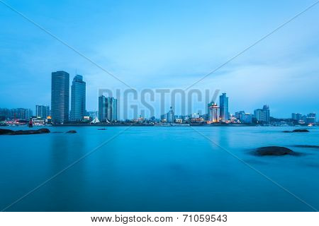 Xiamen City Skyline In Nightfall