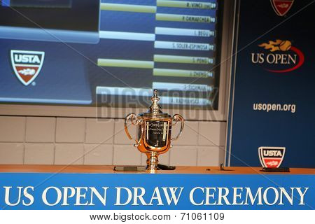 US Open Men singles trophy presented at the 2014 US Open Draw Ceremony